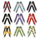 MENS HEAVY DUTY TROUSER BRACES METAL CLIP WIDE WORK 13 VARIOUS PLAIN PATTERNS