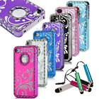 Luxury Bling Crystal Brushed Aluminum Chrome Hard Case Cover for iPhone 4 4S 4G
