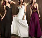 Sexy Womens Long Evening Bridesmaid Rhinestone Beaded Backless Cocktail Dress