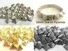 50pcs 10mm 2 hole Acrylic PYRAMID STUDS sew on stitch on stick on Embellishments