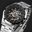 2 Colors Stainless Steel Mens Skeleton Automatic Auto Mechanical Wrist Watch