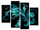 Floral Modern Wall Art On Canvas Print Set Of 4 FRAMED Choice Of Clock/Color