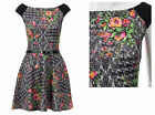New Womens Sexy Summer Casual Floral Print Jersey Belt Detail Skater Dress