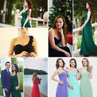 Ladies One Shoulder Winter Bridesmaid Maxi Evening Dress Formal Prom Gown 09768