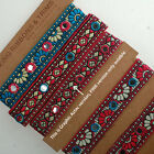 Neotrims Aztec Design India Mirror Work Embroidery Ribbons by the Yard Wholesale