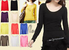 Soft Cotton Long Sleeve Basic Silm Top Shirt  T100