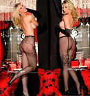 FLORAL FISHNET PANTYHOSE w/ SPANDEX Faux GARTER Mock SUSPENDER Tights Shirley OS