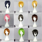 Short Straight Layered Black/Grey/Blonde/Pink/Green Anime Basic Cosplay Wig