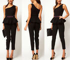 Sexy One Shoulder High Waist Beaded Peplum Cropped Cocktail Club Jumpsuit Romper