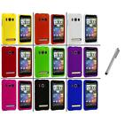 For HTC Sprint EVO 4G Color Hard Snap-On Rubberized Case Cover+Metal Pen