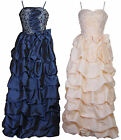 Long Bouffant Ruffled Pleated Flower Formal Evening Dress Prom Ball Gown UK 8-16