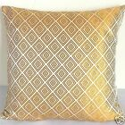 cushion cover Chinese brocade pillow case pale gold diamond on whte custom made