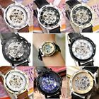 Men's PU Leather Hand-winding Hollow Skeleton Mechanical Sport Wrist Watch+Box
