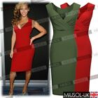 Womens Ladies Sexy V-Neck Bodycon Cocktail Party Evening Slim Dresses Size 8-16