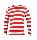 LONG HALLOWEEN SLEEVE RED AND WHITE STRIPED STRIPY FANCY DRESS BOOK WEEK T-SHIRT