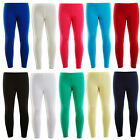 Plain Girls Full Length 100% Cotton Kids Leggings Children Dancewear 2-13 Years