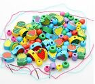 wooden toy interest stringing beads digital/fruit/marine life/insect bead 1 set