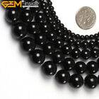 Natural Round Black Smooth Agate Jewelry Making GEM Beads Strand 15'',Size Pick