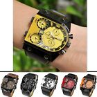 Rectangle Oversized Multi-Time Zones 3 Times Mens Sports Quartz Leather Watch
