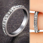 18K WHITE GOLD FILLED R54 WEDDING ETERNITY LAB DIAMONDS WOMENS SOLID BAND RINGS