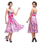 Strapless Floral Printed Satin Bow Ruffles Party Club Prom Cocktail Dress 06089