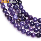 "Round Dyed Purple Crackle Agate Beads Jewelry Making Strand 15"" Size Pick"
