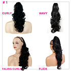 PONYTAIL Clip In On Hair Extensions Jet Black #1 REVERSIBLE 4 Styles Claw Clip
