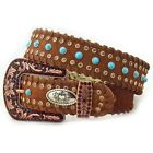 HAIR ON HIDE LEATHER RHINESTONE BROWN TURQUOISE WESTERN BELT KATYDID S M L XL