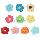 "50Pcs 1"" Handmade Crochet Flower Appliques Sewing Craft Doll Baby Dress / Shirt"