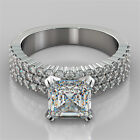 2.84Ct Asscher Cut Micro Pave Engagement Ring Available in 14K or 18K White Gold