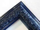 """1.8"""" Wide Swirl Navy Blue Solid Wood Picture Frame-Custom Made Standard Size"""