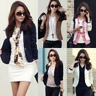 OL Slim Lapel One Button Short Blazer Jacket Casual Suit Solid Color Long Sleeve
