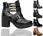 Ladies Block Heel Womens Buckle Strap Cut Out Chelsea Ankle Boots Shoes Size 3-8