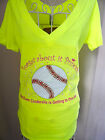 Sport Chic Purple Neon Yellow Softball Princess Tee
