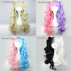 Long Curly Blonde/Black/Purple/Pink Multi-Color Lolita Hair Wig + Two Ponytails
