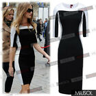 Womens Celebrity Black&White Monochrome Pencil Mini Bodycon Dresses Size 8101246