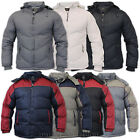 Mens Jacket Padded Coat Hooded Lined Zip Outerwear Hoody Warm Casual Winter New
