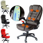 Reclining Leather Office Computer Chair 6-Point Massage High Back Desk Work New