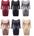 New Womens Christmas Sexy Party Club Sequin Embellished Bodycon Fitted Dress512
