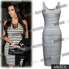 Womens Ladies Striped Stretch Bodycon Slimming Casual Dresses Size 681046
