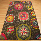 Technicolor Multi Colour Modern Rugs Brown Background - Kaleidoscope