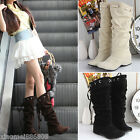 New Women Winter boots Sexy Mid-Calf Flat Boots lady Shoes 3 Colors