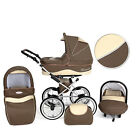 Romantic Retro Leder Kinderwagen + Buggy + Babyschale + Extras