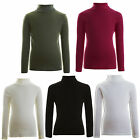 Kids Girls & Boys Ribbed Top - Polo Roll Neck Jumper 2-13 Years