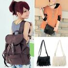 D0X8 Womens Vintage Canvas Satchel Girl's Tassel Shoulder Backpack School Bag