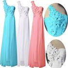 Long One Shoulder Floral wedding dress bridesmaid Prom Party Evening Gown Dress