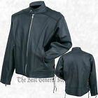 Men Black Solid Cowhide Leather Motorcycle Riding Jacket with Side Laces Cruiser