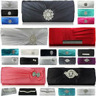 Women's Clutch Bags Sparkly Crystal Satin Party With Chain Bridal Purse Handbag