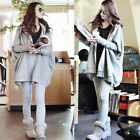 Casual Korean Batwing Sleeve Women Zip Up Hoodies Sweats Outwear Sweatshirt Tops