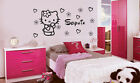 PERSONALISED HELLO KITTY  WALL  STICKER GIRLS NAME (7 HEART +7 FLOWER)